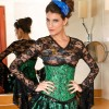 Darling Pleated Ruffle Trim Floral Pattern Green Under Bust Corset CF5504_02