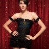 Elegant Ruffle Trim Criss Cross Front Jacquard Weave Corset with Pleated Sleeve CF5171 Black