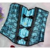 Fancy Fashion Lace Overlay Busk Closure Corset with Three Pieces of Bowknots CF5114 Blue_01