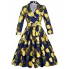 Floral Print Vintage 3/4 Sleeve Classy V Neck 1940's Rockabilly Dress CF1396 Blue_01