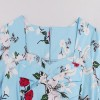 Half Sleeve Rockabilly Swing Floral Print Spring Garden Party Dress CF1398 Blue_06