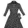 Lady's Retro V Neckline Lapel Classic Vintage Rockabilly Swing Dress CF1430 Black Dot_04