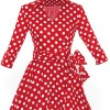 Lady's Retro V Neckline Lapel Classic Vintage Rockabilly Swing Dress CF1430 Red Dot_03