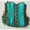 Leather Buckle Side Lace Up Back Floral Print Overbust Corset CF5007 Blue_02