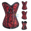 Polka Dot Gothic Lace Trim With Bow Corset Bustier Tops CF7027 Red_01