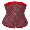 Red Plaid Lace Up Back Waist Cincher Workout Underbust Corset CF7507