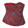 Red Plaid Lace Up Back Waist Cincher Workout Underbust Corset CF7507_01