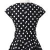 Retro 1950s Audrey Polka Dots Swing Cocktail Rockabilly Pinup Dress CF1003 Black White_05