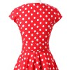Retro 1950s Audrey Polka Dots Swing Cocktail Rockabilly Pinup Dress CF1003 Red_04