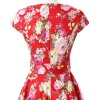 Retro 1950s Cap Sleeve Rockabilly Pinup Swing Floral Hepburn Dresses CF1004 Red Floral_05