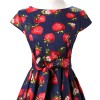 Retro 1950s Cap Sleeve Rockabilly Pinup Swing Floral Hepburn Dresses CF1004 Strawberry_04