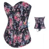Sexy Vintage Floral Print Denim Zipper Up Front Overbust Corset CF7071 Black_01