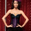 Vintage Black Feather Overbust Floral Lace Side Elegant Corset Top CF5142 Purple