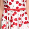 Women 1950s Cherry Vintage Sleeveless With Belt Ball Picnic Dress CF1405 red white cherry_03