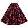Women 1950s Rockabilly Floral Print Vintage Flared Style A-line Skirt red flower_02