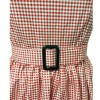 Women 1950s Swing Vintage Checked Sleeveless With Belt Cocktail Picnic Dress CF1422 pink _08
