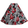 Women's 50s Rockabilly Floral High Waist A Line Pleated Full Midi Skirt red flower_01
