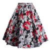Women's 50s Rockabilly Floral High Waist A Line Pleated Full Midi Skirt red flower_03
