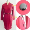 Women's Chic Business Celebrity Long Sleeve Bodycon Pencil Dresses CF1607 Burgundy_05