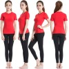 Women's Short Sleeve Elastic Athletic Compression Shirt CF2234 red_01