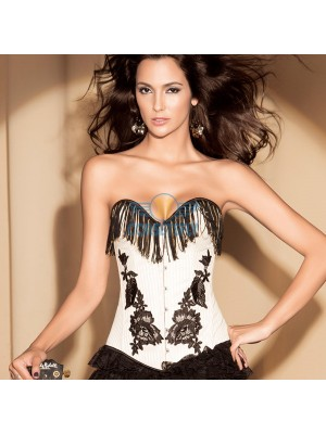Women Fashion White Tassel Covered Overbust Jacquard Weave Side Corset CF5146