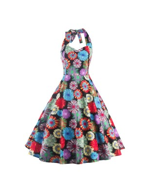 1950s Multi Floral Print Halter V-Neck Rockabilly Vintage Swing Dress CF1260