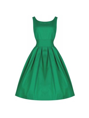 1950s V-Neck Sleeveless Vintage Rockabilly Swing Evening Party Stretchy Dresses green