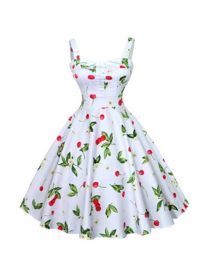 1950s Vintage Cherry-pattern Strappy Chest-wrapping A-line Summer Beach Swing Dress CF1534 white