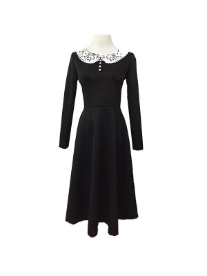 1950s Vintage Long Sleeve Lace Button Black Party Swing A-line Dress CF1511