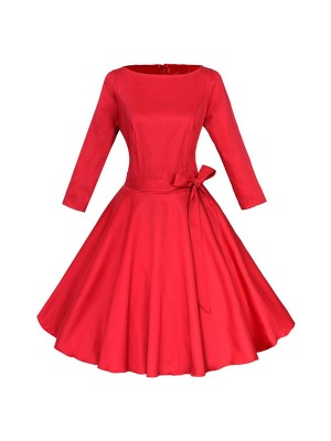 1950s Vintage Long Sleeve Single Color Party Tunic A-line Swing Dress CF1140 red