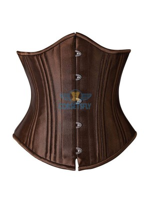 24 Flexible Double Steel Bones Super Strength Waist Training Corset CF7533 Brown