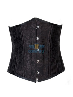 24 Spiral Steel Boned Brocade Underbust Waist Training Exercises Corset CF7534