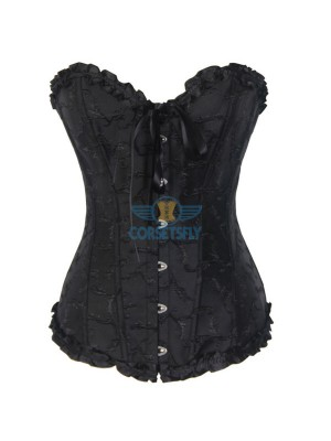 Steel Busk Closures Front Jacquard Weave Embroidered Overbust Corset Black CF7085 Black
