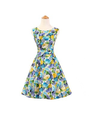 1950s 1960s Vintage Rockabilly Swing Picnic Party Beauty Ball Dress Floral CF1008