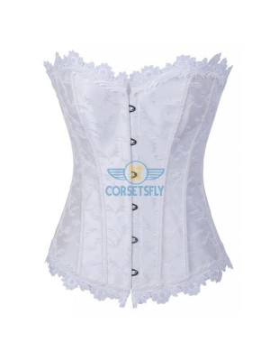 Lace Trim on Top Bottom Jacquard Weave Embroidered Overbust Corset CF7084 White