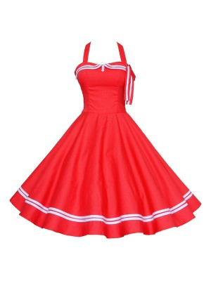 Chic Halter Pinup Sweetheart Neckline Vintage Striped Rockabilly Swing Dress CF1282