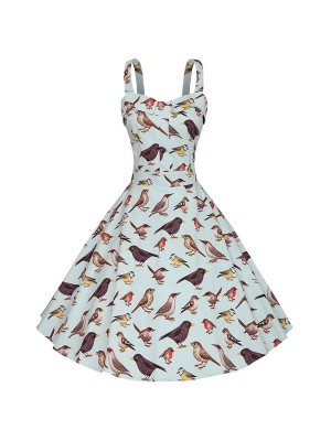 Bird Pattern Printed Classy Rockabilly Swing Evening Party Dress CF1509
