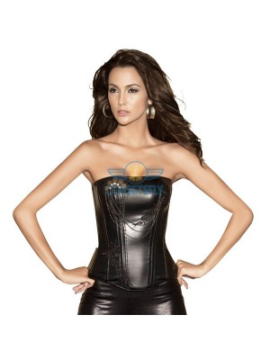 Black Faux Leather Flower Overlay Chain Embellishments Overbust Corset CF5314