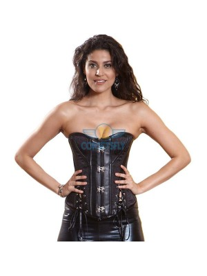 Black Ribbon Buckle Victorian Steampunk Costume Steel Bones Leather Corset CF5328