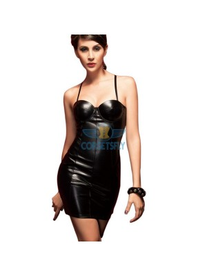 Black Wet Look PVC Vinyl With Cups Halter Overbust Corset Dress CF5315
