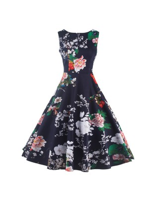Boatneck Floral Print Rockabilly Vintage Sleeveless Evening Party Swing Dress CF1256 Navy_01