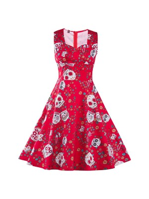 Chic Floral Skull Sweetheart Neckline Vintage Sleeveless Rockabilly Swing Dress CF1291
