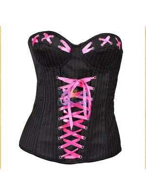 Chic High quality Denim Pink Ribbon Criss Cross Embelishment Corset CF5160