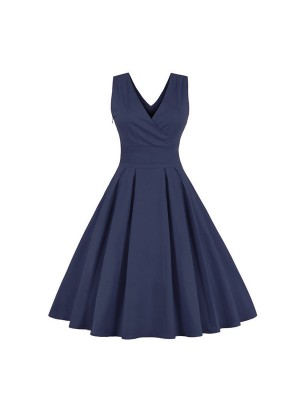 Chic Strappy Pleated V Neckline Vintage Rockabilly Casual Swing Dress CF1443 Blue_01