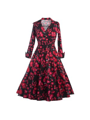 Classic Floral Lapel Collar Retro Long Sleeve Rockabilly Swing Dress CF1288