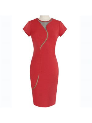 Classic Retro Chic Elegant Crewneck Casual Fitted Bodycon Pencil Dresses CF1612 Red_01