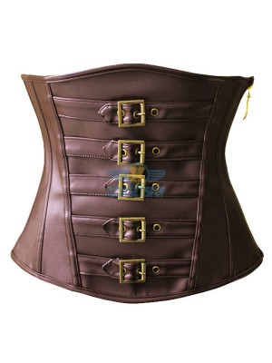Classic Sexy Brown Leather Victorian Steampunk Zip Buckles Underbust Corset CF5305