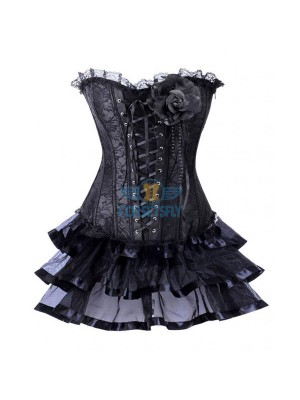 Classic Vintage Goth European With Flower Elegant Lace Corset Dress CF7863