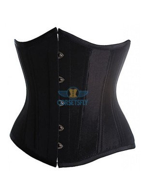 Classic Vintage Satin Underbust Plastic Bone Wedding Lace Up Corset CF7518 Black