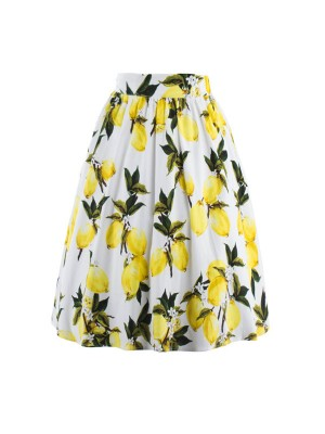 Classy Vintage Pinup Floral Print Pleated Rockabilly Midi Swing Skirt CF1248
